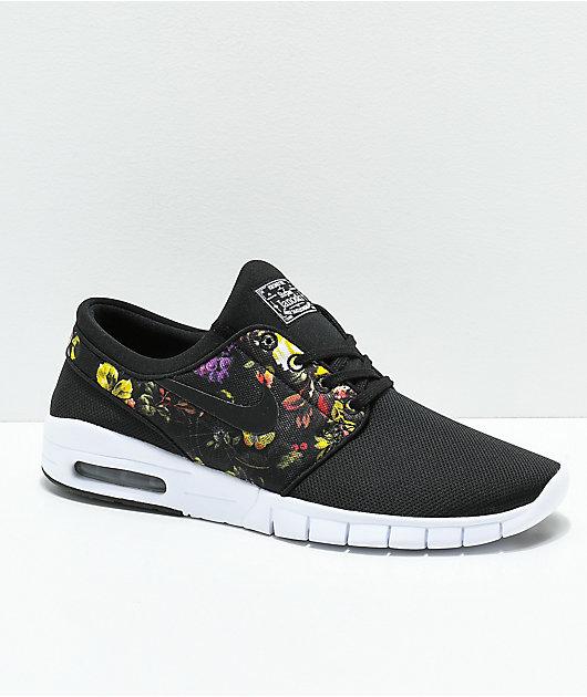 Nike SB Janoski Air Max Black & Floral Shoes