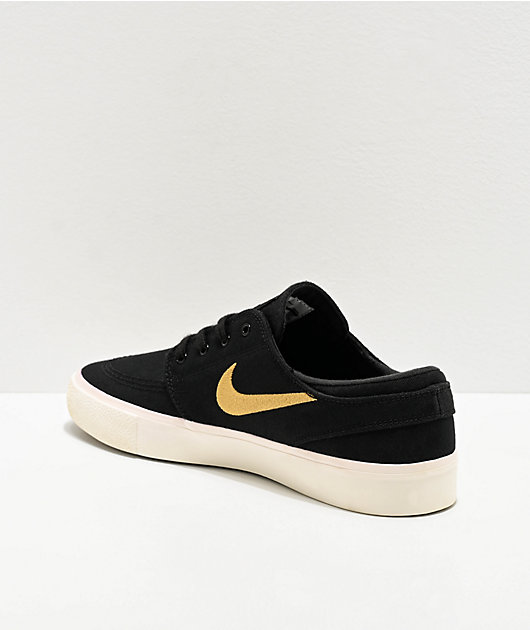 Nike SB Janoski Black, Gold & White Canvas Skate Shoes