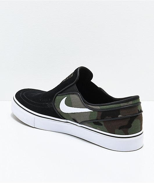 Nike SB Janoski Black \u0026 Camo Slip-On