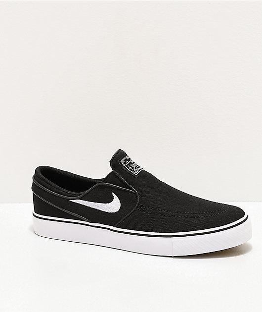 Nike SB Janoski Black & White Kids Slip-On Canvas Skate Shoes