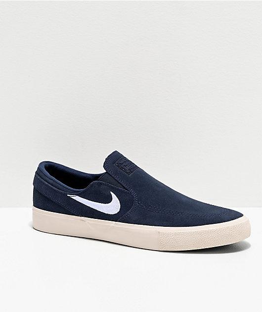 Nike SB Janoski Obsidian Slip-On Suede Skate Shoes