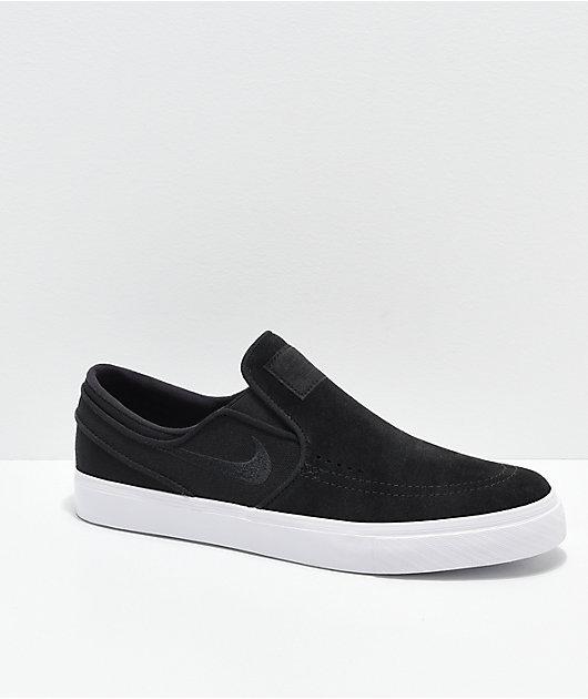 Nike SB Janoski Slip-On zapatos de skate de lienzo y ante en negro y blanco