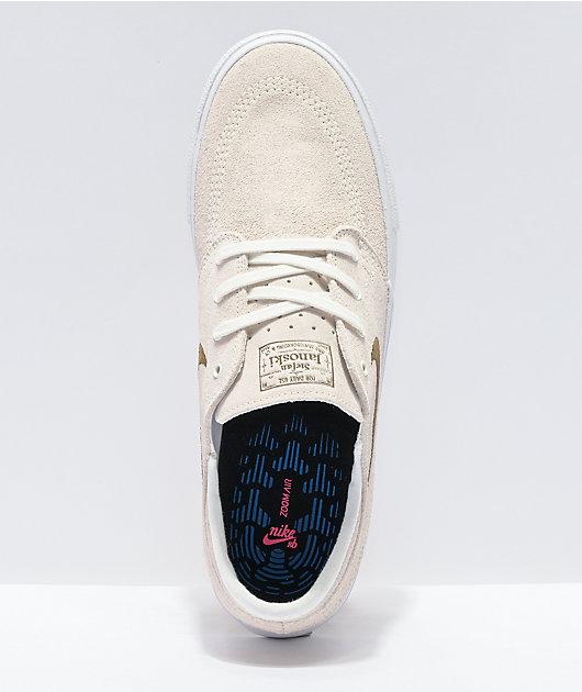 Nike SB Janoski Suede Sail, White, & Brown Skate Shoes
