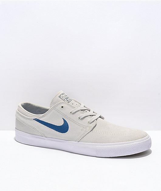 Nike SB Janoski Summit White & Blue Suede Skate Shoes