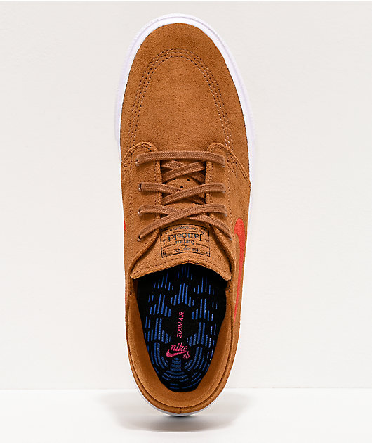Nike SB Janoski Tan & British Red Suede Skate Shoes