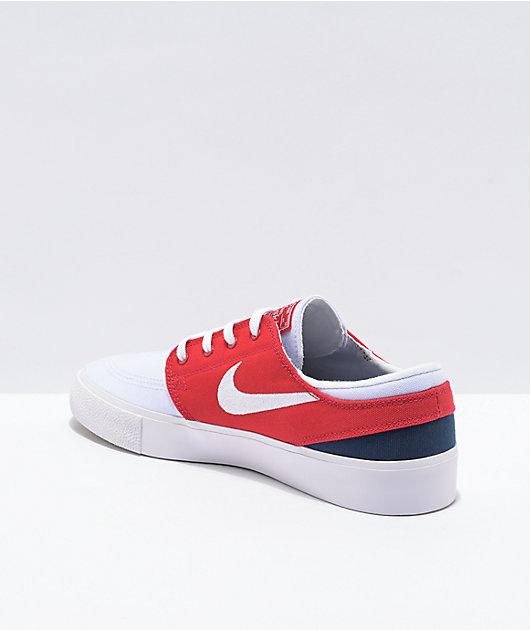 Nike SB Janoski White, Red & Navy Skate Shoes