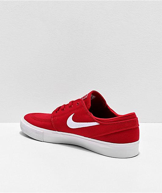 Nike SB Janoski zapatos de skate de lienzo rojo y blanco