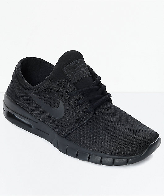 Nike SB Kids Janoski Air Max All Black Skate Shoes