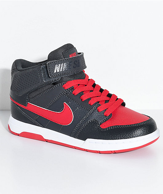 Nike SB Kids Mogan Mid 2 Anthracite & University Red Skate Shoes