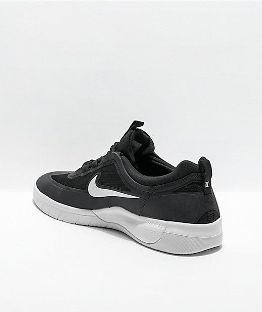 Nike SB Nyjah Free 2.0 Black & White Skate Shoes