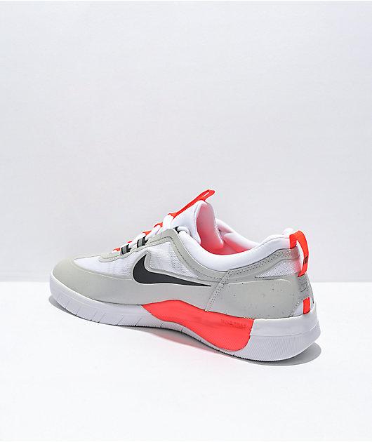 Nike SB Nyjah Free 2.0 Grey, Black, & White Skate Shoes