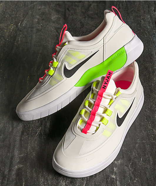 Nike SB Nyjah Free 2.0 Summit White, Volt Yellow & Pink Skate Shoes