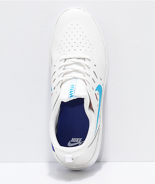 Nike SB Nyjah Free Summit White, Blue & Red Skate Shoes