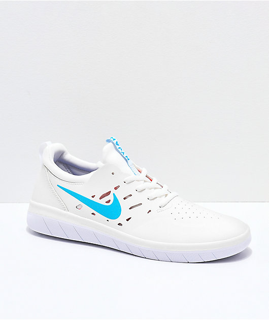 Nike SB Nyjah Free Summit zapatos de skate blancos, azules y rojos