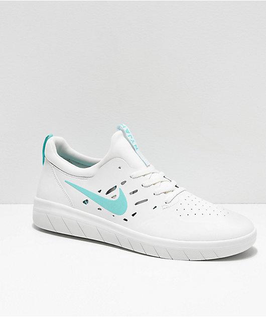 Nike SB Nyjah Free Tropical Twist zapatos de skate blancos