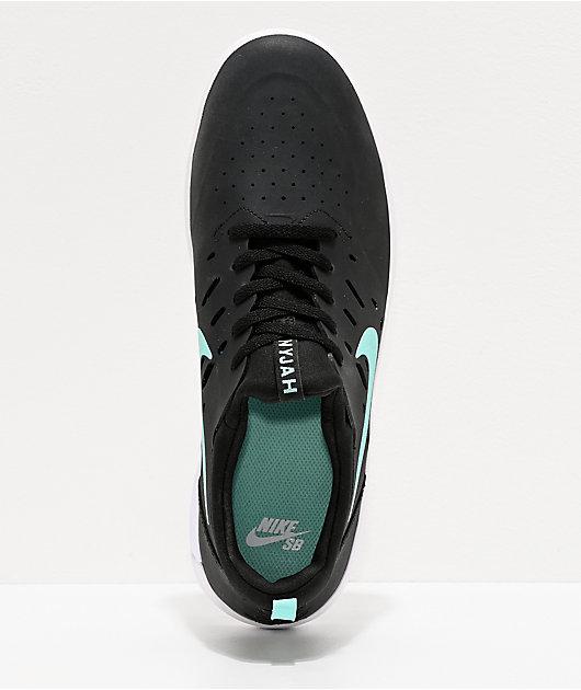 Nike SB Nyjah Free Tropical Twist zapatos de skate negros y blancos