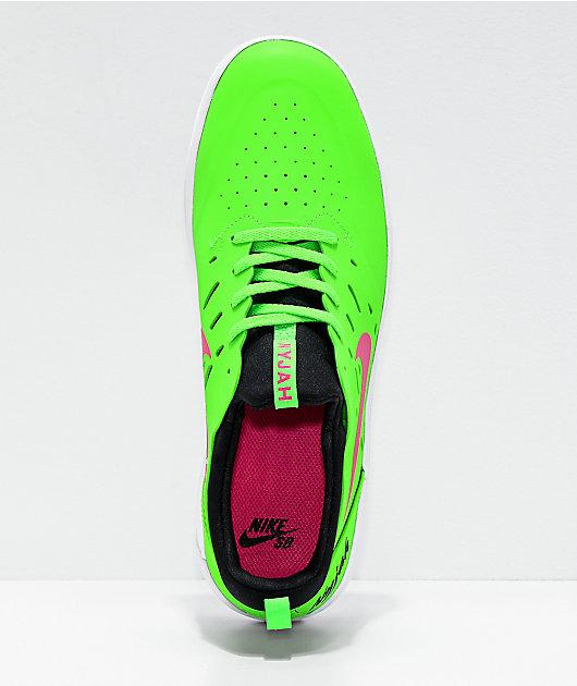 Nike SB Nyjah Free Watermelon zapatos de skate verdes y rosas