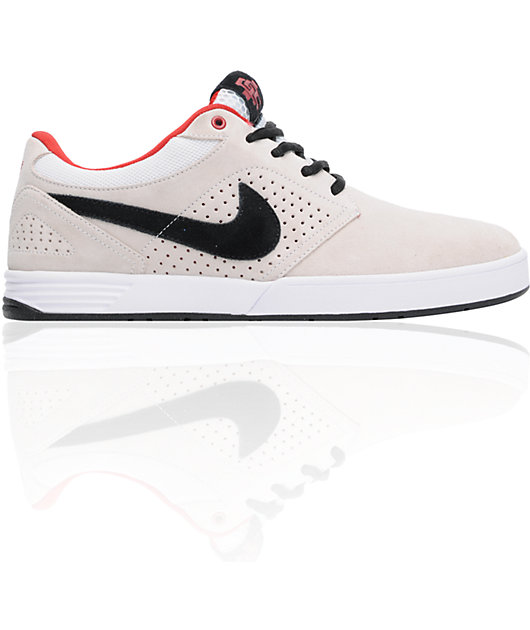 Nike SB P-Rod 5 Low Lunarlon White, Black & Varsity Red Skate Shoes