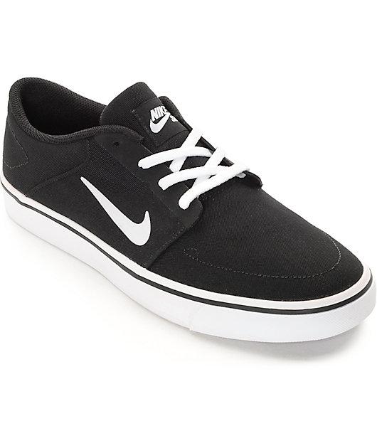 Nike SB Portmore Black & White Canvas Skate Shoes   Zumiez.ca