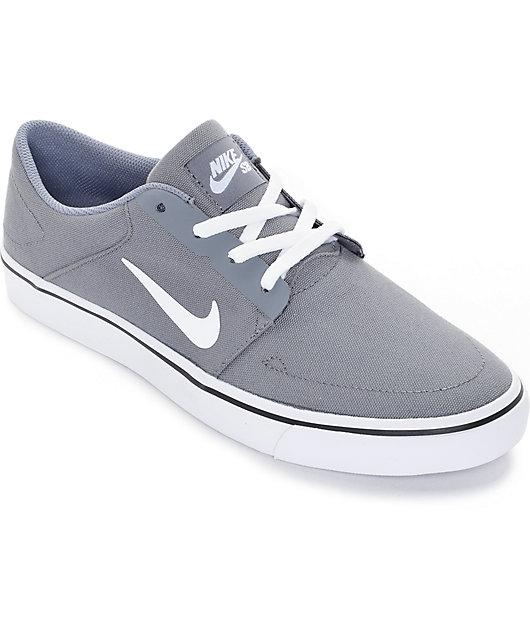 fútbol americano Caligrafía Posada  Nike SB Portmore Cool Grey & White Canvas Skate Shoes | Zumiez