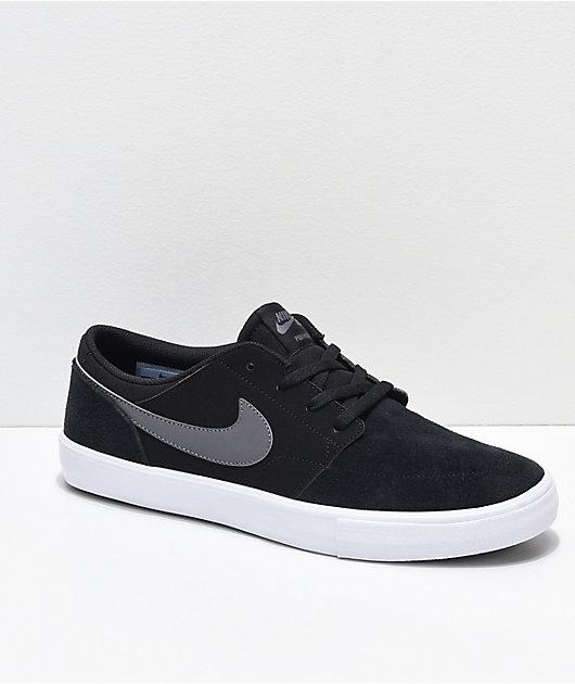 principal Parte Janice  Nike SB Portmore II Black, Dark Grey & White Skate Shoes | Zumiez
