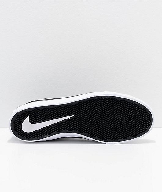 Nike SB Portmore II Black & White Canvas Skate Shoes