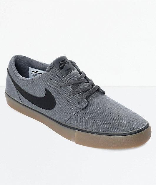 Nike SB Portmore II Dark Grey & Gum Canvas Skate Shoes