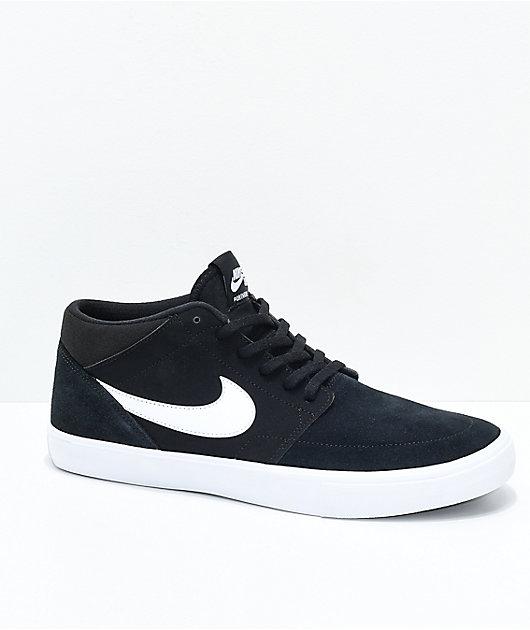 Energize fuso arbitro  Nike SB Portmore II Mid Black & White Skate Shoes | Zumiez