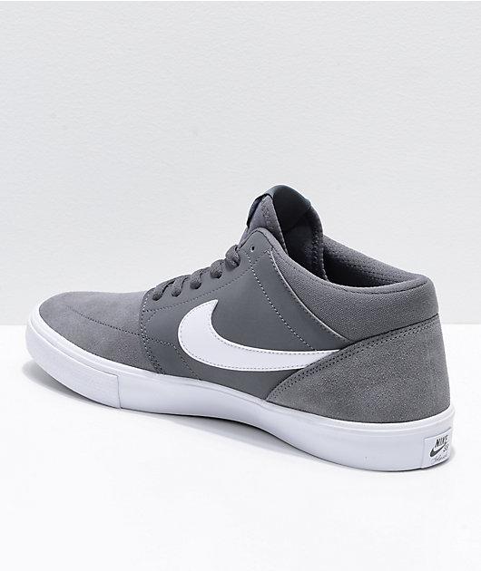 Nike SB Portmore II Mid Grey & White Skate Shoes