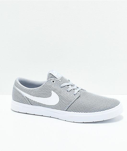 Colector Enderezar alondra  Nike SB Portmore II Ultralight Grey & White Shoes | Zumiez