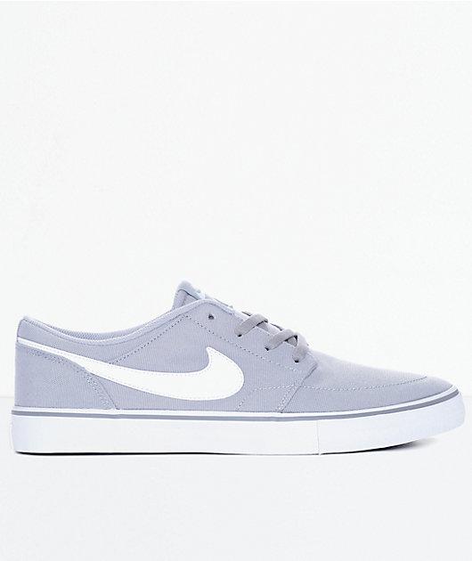 perjudicar Injusto galón  Nike SB Portmore II Wolf Grey & White Canvas Skate Shoes | Zumiez
