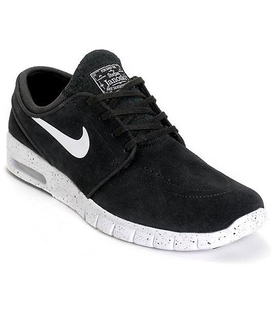 Nike SB Stefan Janoski Air Max Black & White Suede Skate Shoes