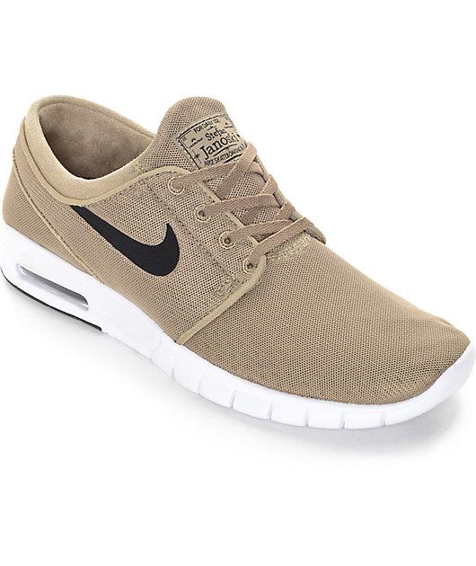 Nike SB Stefan Janoski Air Max Khaki, Black, & White Shoes