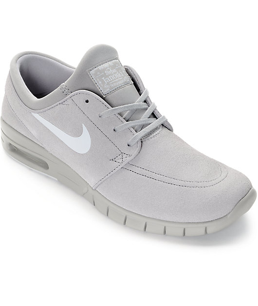 encanto completar hoy  Nike SB Stefan Janoski Air Max Matte Silver & Pure Platinum Grey Skate Shoes  | Zumiez