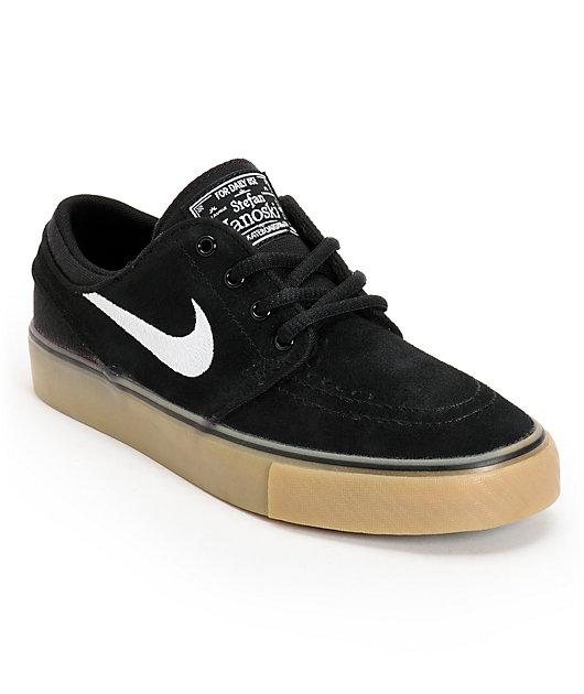 Nike Sb Stefan Janoski Gs Black White Light Brown Gum Kids Shoes Zumiez