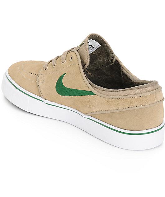 Nike SB Stefan Janoski Khaki & Gorge Green Skate Shoes