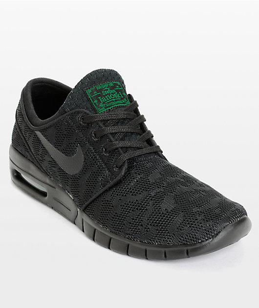 marcador Calendario su  Nike SB Stefan Janoski Max zapatos de malla en negro y verde | Zumiez