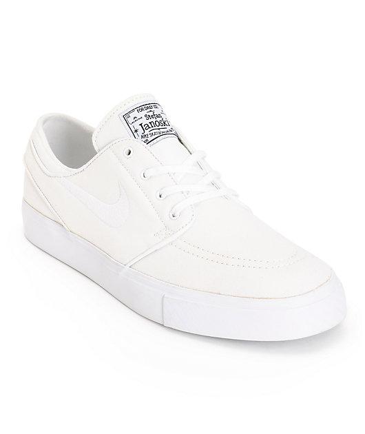 Circular Sobriqueta Completamente seco  Nike SB Zoom Stefan Janoski All White Canvas Skate Shoes | Zumiez