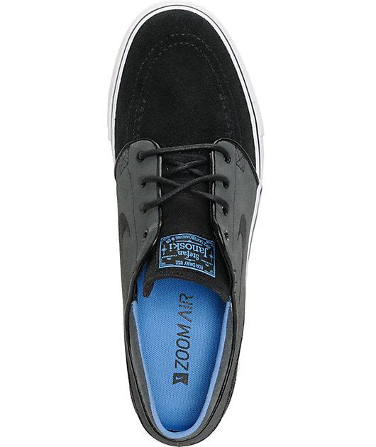 Nike SB Zoom Stefan Janoski Black, Anthracite, & Blue Suede Shoes