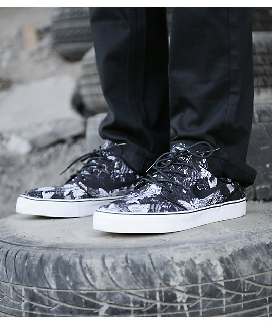 Pino Lavandería a monedas Expresión  Nike SB Zoom Stefan Janoski Black Floral Sail Skate Shoes | Zumiez