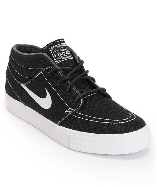 Nike SB Zoom Stefan Janoski Mid Black & White Canvas Skate Shoes