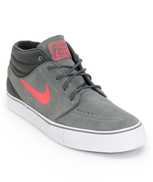 Nike SB Zoom Stefan Janoski Mid Grey, Anthracite, & Hyper Red Suede Skate Shoes