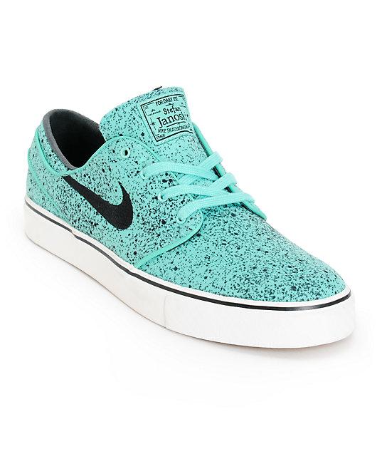 Nike SB Zoom Stefan Janoski PR Crystal Mint & Black Speckle Skate Shoes