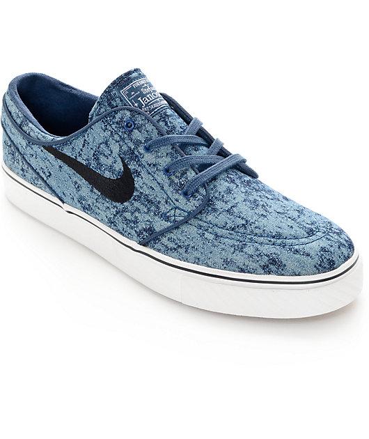 Saliente suelo Pensativo  Nike SB Zoom Stefan Janoski Premium Squadron Blue & White Skate Shoes |  Zumiez