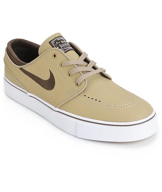 Bailarín Caliza Positivo  Nike SB Zoom Stefan Janoski zapatos de skate de cuero caqui y marrón |  Zumiez