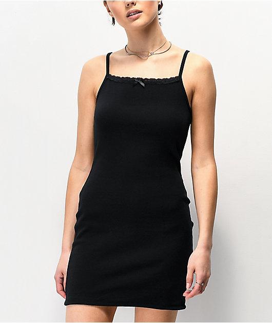 Nikki Erin Bodycon vestido negro con tirantes