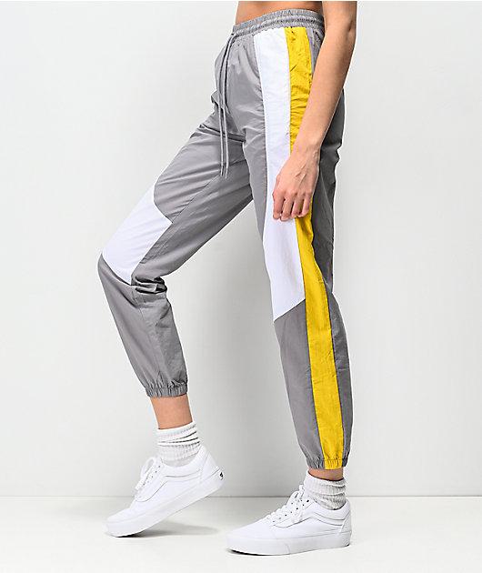 Ninth Hall Corbet Grey, White & Yellow Crinkle Track Pants
