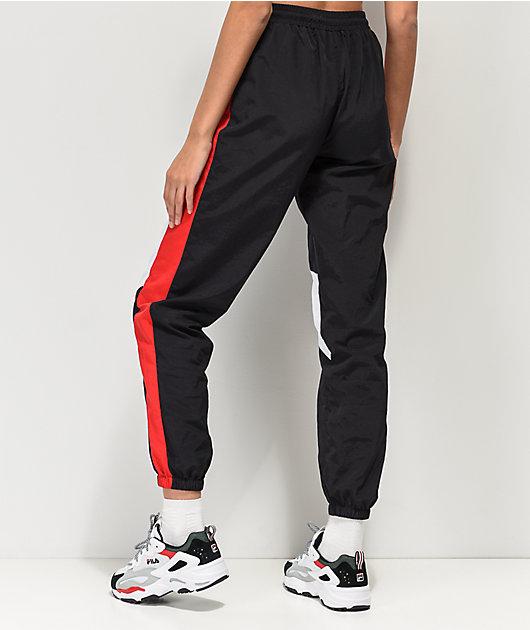 Ninth Hall Corbet Red, White & Black Crinkle Track Pants