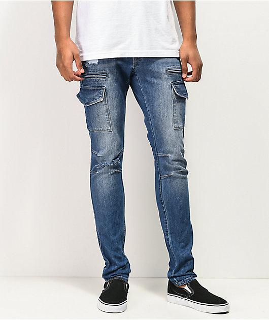 Ninth Hall Decoy Warp jeans ajustados estilo cargo azul oscuro