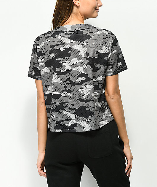 Ninth Hall Kent Grey Camo Crop Jersey Top